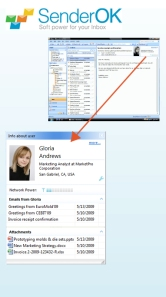 SenderOK Social Network Email Profile in the Outlook header pane
