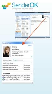 SenderOK Social Network Email Profile in the Outlook header pane