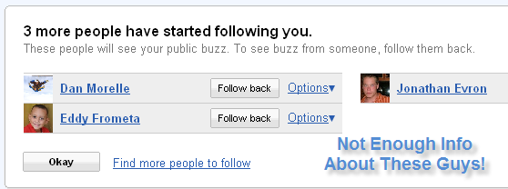 Google Buzz Fails to Describe Followers Without Clicking