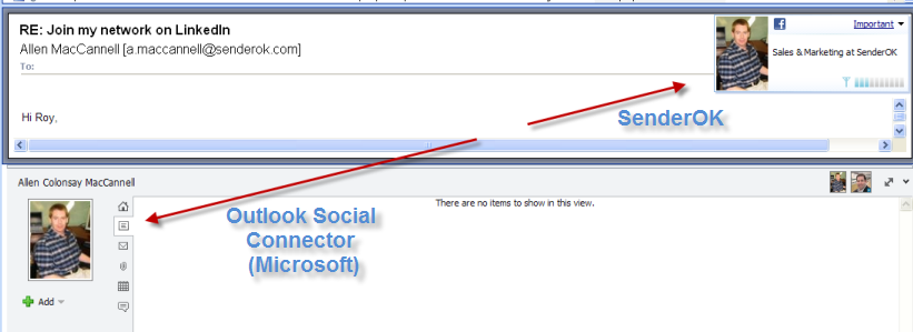 Comparison of SenderOK against Microsoft Outlook Social Connector